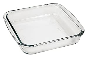 "Marinex Bakeware Square Glass Roaster with Plastic Lid, 9-5/8"" x 8-3/4"" x 2"""