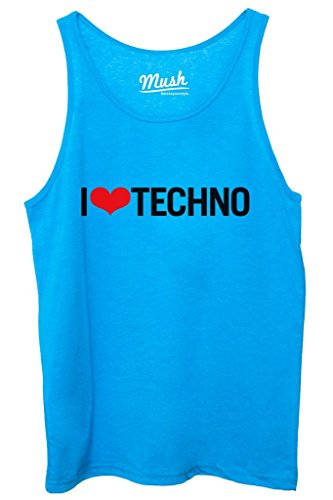 Canotta I LOVE TECHNO - MUSIC by MUSH Dress Your Style - Donna-XL Blu Royal