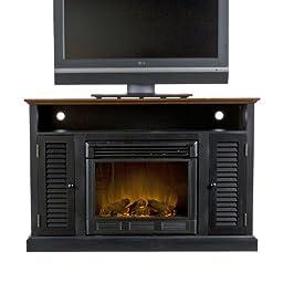 SEI Antebellum Media Console with Electric Fireplace, Black/ Walnut