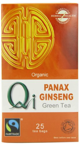 Qi Organic Panax Ginseng Green Tea 25 Teabags (Pack of 6, Total 150 Teabags)
