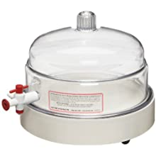 "Bel-Art Scienceware 420430000 Polycarbonate/PTFE Vacuum Chamber with ABS Plastic Plate, 9"" Diameter x 6-1/4"" Height"