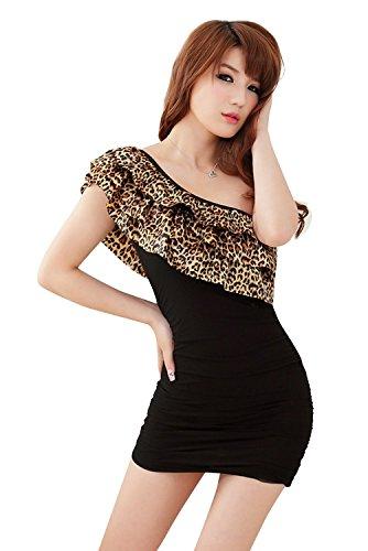 shangrui damen leopard flouncing nachtclub kleidung tube. Black Bedroom Furniture Sets. Home Design Ideas