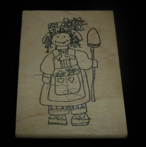 Girl Gardener Rubber Stamp - 1