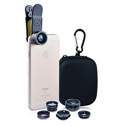 Apexel-Deluxe-Universal-5-in-1-Camera-Lens-Kit-for-iPhone-7-66s-6Plus6s-Plus-Samsung-Galaxy-S7S7-EdgeS6S6-Edge-Note-5-4-Fisheye-Lens-2-in-1-Wide-Angle-Macro-Lens-2x-Telephoto-Lens-and-CPL-Lens