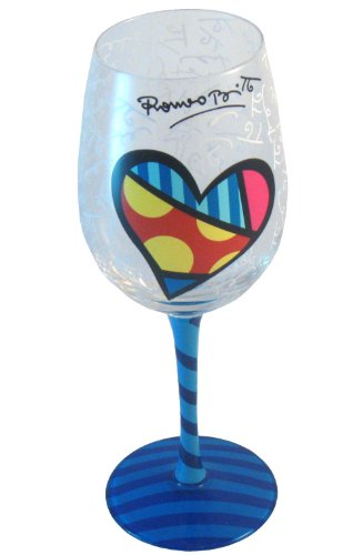 Romero Britto Heart Wine Glass with Blue Hand-Painted Striped Stem and Base