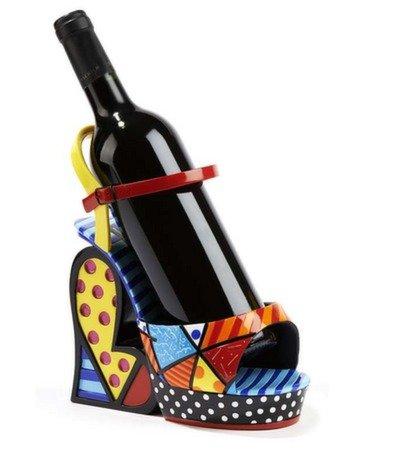 Romero Britto Multi-Pattern Wine Bottle Holder Platform Shoe