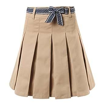 etongenius khaki pleated skirt for big juniors