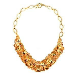 Pugster 18K Gold Topaz Yellow 2 row teardrop Chunky Bubble BIB Statement Fashion Necklace
