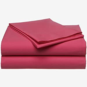 3pc Passion Pink Solid Color Bedding Twin-Single Sheet Set