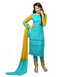Rozdeal Pure Chiffon Aqua Blue Color Dress Material