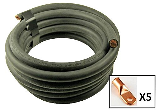 Crimp Supply Ultra-Flexible Car Battery/Welding Cable - 1/0 Gauge, Black - 10 Feet - and 5 Copper Lugs (0 Gauge Copper Wire compare prices)