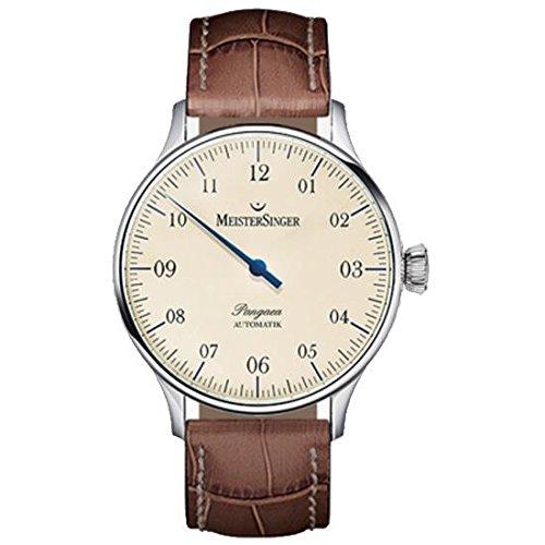 Meistersinger Unisex Single Hand Pangaea 40mm Brown Calfskin Band Steel Case Automatic Analog Watch PM903