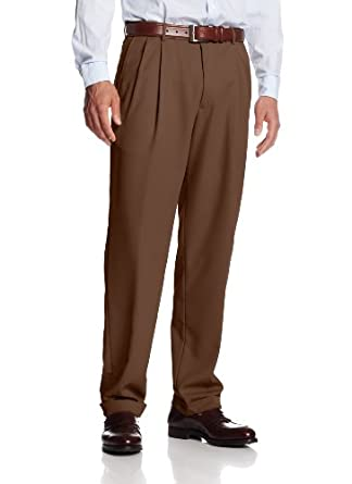 Haggar Men's Mynx Gabardine Hidden Expandable Waist Pleated Dress Pant,Oak,30x30