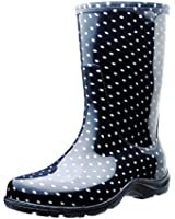 Sloggers 5013BP08 Rain and Garden Boots with All-Day-Comfort Insoles, Size 8, Black/White Polka Dot Print