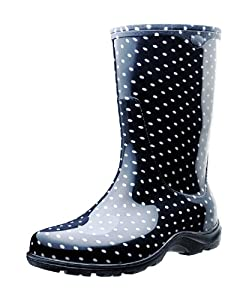 """Sloggers Woman's Rain and Garden Boots with """"All-Day-Comfort"""" Insoles, Black/White Polka Dot Print - Wo's size 10 - Style 5013BP10"""