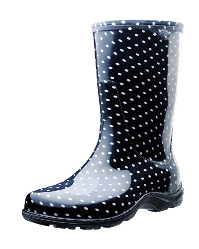 Sloggers 5013BP08 Rain and Garden Boots with All-Day-Comfort Insoles, Size 8, Black/White Polka Dot Print (Garden Rain Boots compare prices)