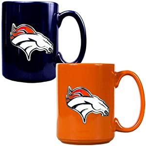 NFL Denver Broncos Two Piece Ceramic Mug Set - Primary Logo by Great American Products