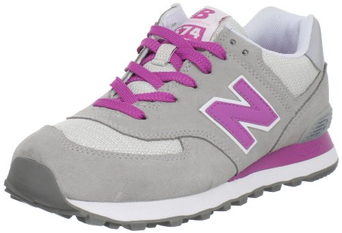 New Balance Women's Wl574 Lace-Up Fashion Sneaker,Grey/Pink,8.5 B US