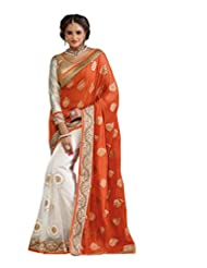 Colors Fashion Orange And Off White Net Latest Designer Party Wear Rich Work Saree