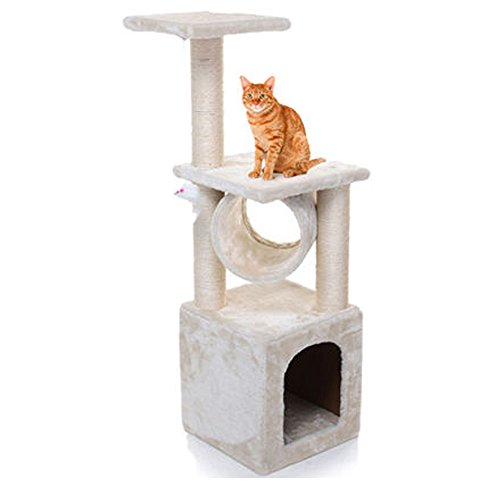 Masione Kitten Cat Nap Activity Tree Condo Pet Furniture Scratching Post Pet House Cat House, Beige (36 inch)