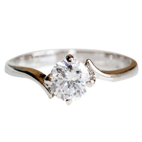 FASHION PLAZA White Gold Finish Engagement Ring with Diamond Cut Cubic Zirconia -4 Claw Setting SIZE O R265-7.5