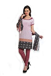 Parchayee Women's White Printed Crepe Dress Material