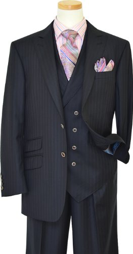Extrema Navy Blue With Royal Blue / Mauve Double Pinstripes Super 140's Wool Vested Suit HA00207 (46R)