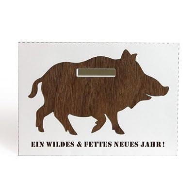 PIGGY BANK Spartüte Neujahrskarte Eber Feinholz von designimdorf