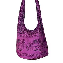 Hobo Hippie Elephant Sling Crossbody Bag Purse Thai Top Zip Handmade New Color Purple