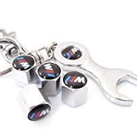 BMW M Tire Valve Caps with Wrench Keychain M1, M3, M5, M6 or M7 from D&R