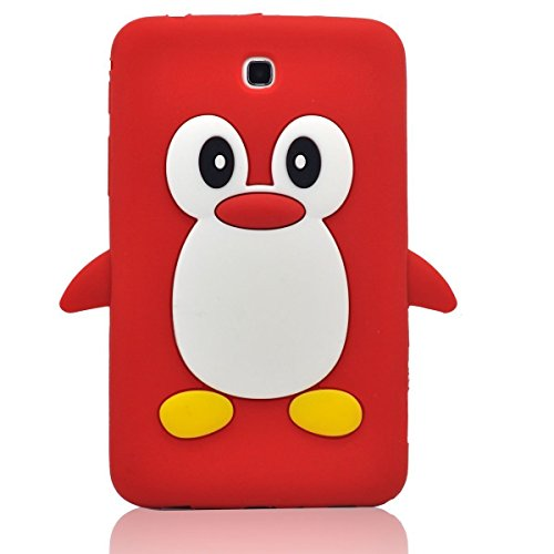 Tsmine Samsung Galaxy Tab 3 7.0-inch SM-T217 T217A T217S T217R T210R T2105 Kids Edition (2013 Model) Cartoon Case, Cute 3D Penguin Animal Soft Silicone Rubber Back Cover Case for Kids- Red