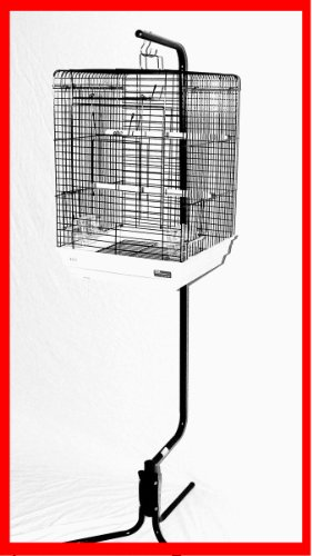 Cheap Belle Ami Bird Cage Plus Stand Black White Cage White Stand (PPUT)
