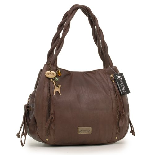 Catwalk Collection Leather Tote Bag - Caz - Chocolate Brown