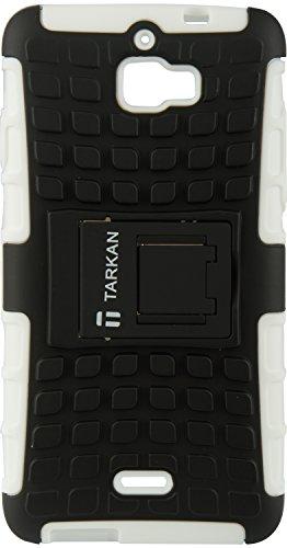 TARKAN Hard Armor Hybrid Rubber Bumper Flip Stand Rugged Back Case Cover For Coolpad Dazen 1 (White)