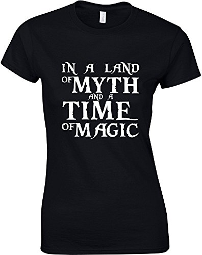 in-a-land-of-myth-and-a-time-of-magic-ladies-printed-t-shirt-black-white-s-6-8