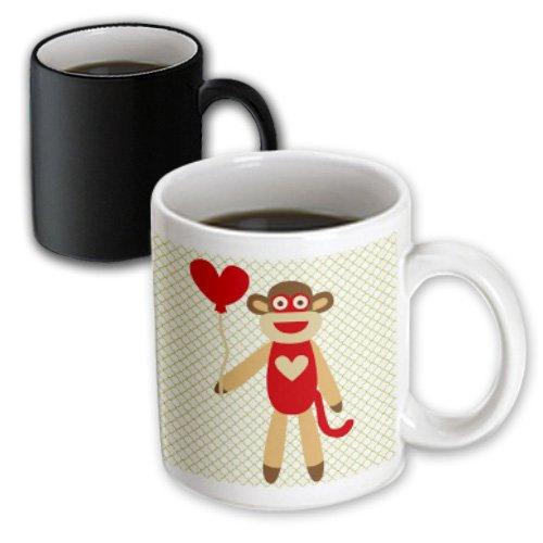 Mug_63510_3 Ps Fun Art - Sock Monkey With Heart Balloon - Adorable Animal Art - Mugs - 11Oz Magic Transforming Mug