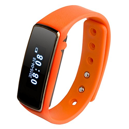 "Soyan V5 Fitness 0.91"" OLED Bluetooth Smartwatch Smart Bracelet Health Watch Wristband Wrist Wrap Sports Pedometer with Sports&Sleep Tracking For Android 4.3 or Above and For IOS 6 (Orange)"