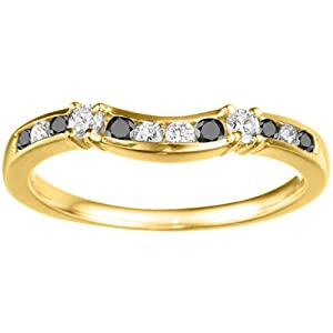 0.35 crt Black And White Diamonds Mounted In 14k Yellow Gold. Embellished Classic Contour Band
