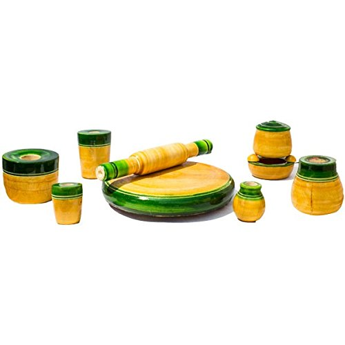 Kalaplanet Eco Friendly Green Wooden Toy Kitchen Set