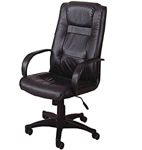 Contemporary Black Leather Office Chair With Gas Lift Mechanism Base In Black Frame Finish
