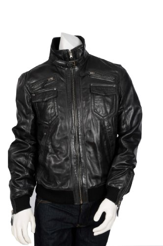 Mens Fitted Bomber Style Leather Jacket T20 Black Gents High Fashion Bomber Jacket (XL)