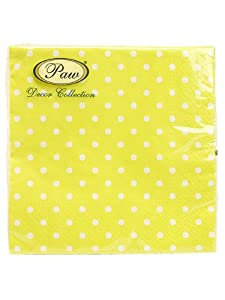 "Set 40 PCS 6.6"" Large Luncheon Yellow Polka Dot Paper Cocktail Napkins"