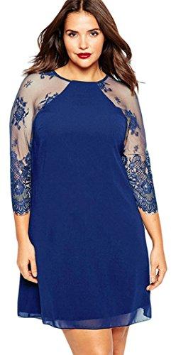 YFFaye Women's Sheer Lace Raglan Sleeves Curvaceous Chiffon Shift Dress