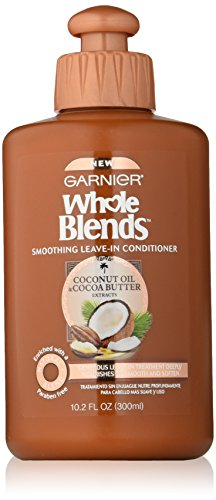 Garnier Whole Blends Smoothing Leave-in Conditioner, Coconut Oil & Cocoa Butter extracts, 10.1 Fluid Ounce
