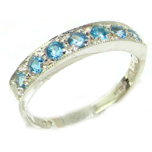 Solid English Sterling Silver Ladies Natural Blue Topaz Eternity Band Ring - Size 12 - Finger Sizes 5 to 12 Available - Suitable as an Anniversary ring, Engagement ring, Eternity ring, or Promise ring