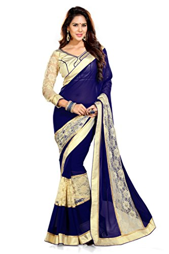 Sourbh Sarees Navy Blue Faux Georgette Best Sarees for Women Party Wear