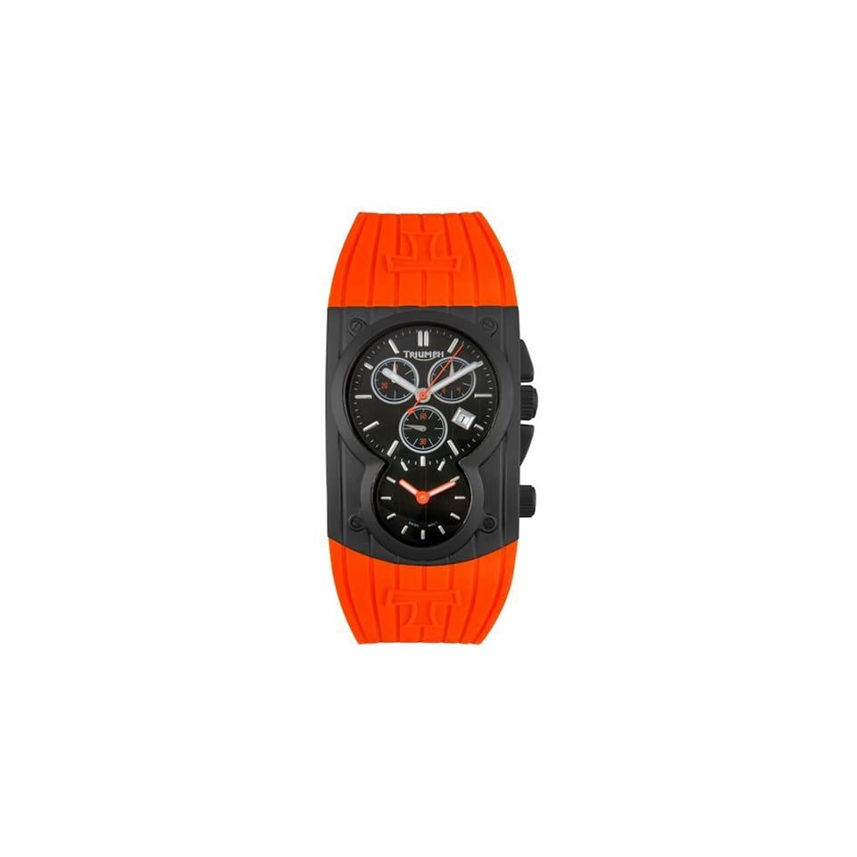 Triumph Motorcycles Mens 3040 04 Chronograph Dual Time Orange Rubber Watch