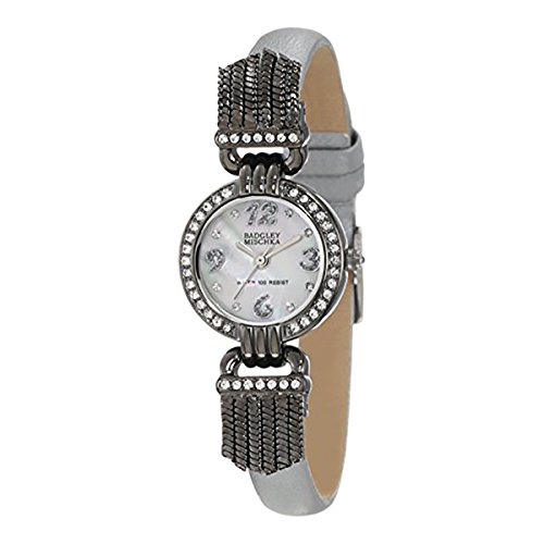 badgley-mischka-womens-ba-1213mpsi-swarovski-crystal-accented-gunmetal-tone-silver-leather-strap-wat