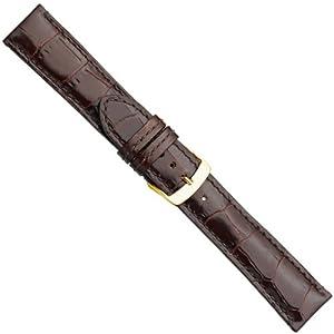 Herzog Paris Premium Correa de Reloj piel de becerrocuero Band marrón 20891G, Ancho de la pulsera: 18mm por Herzog