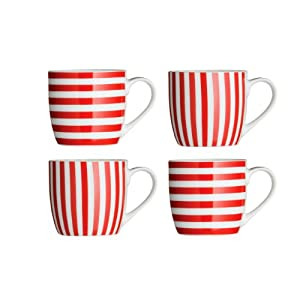 jegs 721909 set 4 porcelain stripe mugs in red kitchen. Black Bedroom Furniture Sets. Home Design Ideas